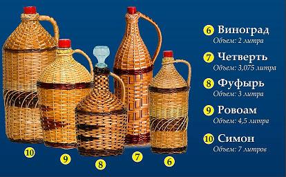 Оплетенные бутыли прутьями лозы
