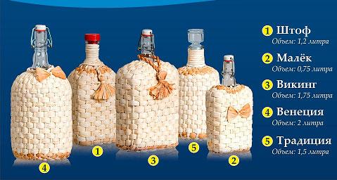 Оплетенные бутыли